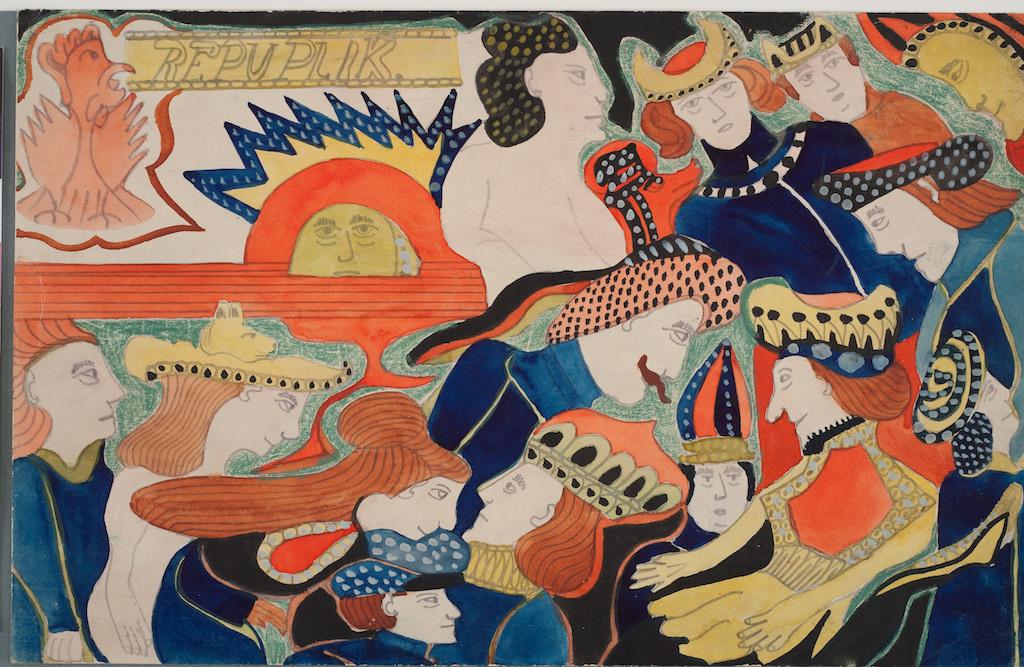 Klett, Auguts [Klotz], IIIe Feuille : La république des coqs dans le soleil a donné dîner et danse sans déguisement, crayon, aquarelle, craie sur papier